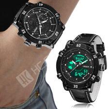 Reloj Deportivo Ohsen Para Hombre de Cuero Genuino gran cara LCD Digital Relojes de Cuarzo Nuevo