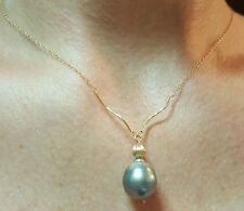 13mm huge grey Tahitian baroque Pearl 14k gold wave twist bead pendant Necklace