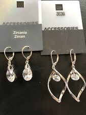 2 x Pairs Ladies Cubic Zirconia Pierced Earrings Costume Jewellery Prom Cocktail