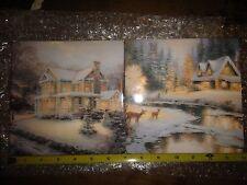 Kitchen Tile Trivets Thomas Kinkade - Deer Creek Cottage & Victorian Christmas 3
