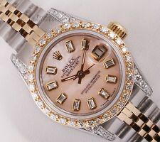 Rolex Lady 26mm Datejust Two Tone 18k Diamond Bezel & Lug-Pink MOP Baguette Dial