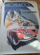 F1 poster Monaco 1952, sports, 100 by 68cm, cars, formula 1, racing cars.