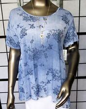 Leichtes,modernes Shirt in A-Linie,jeansblau,mit Kette,ca.46/48 Maße angegeben
