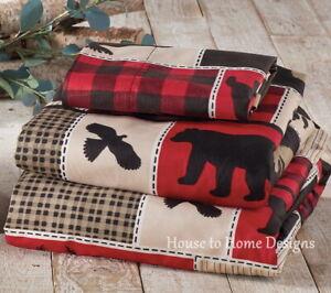 LODGE LIFE 4pc King SHEETS SET: BLACK BEAR PAW MOOSE CABIN RED BUFFALO CHECK