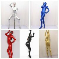 Lady Faux Latex Zentai Bodysuit Catsuit Wet Look Shiny Suit Costume Unitard Chic