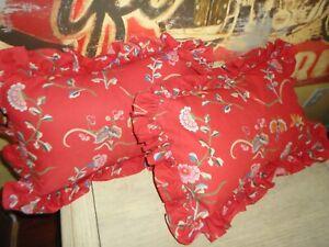 RALPH LAUREN RED BLUE FLORAL BUTTERFLIES RUFFLED (2) OBLONG THROW PILLOWS 9 X 15