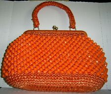 New listing Vintage Orange Beaded Purse 1960's? Made in Japan