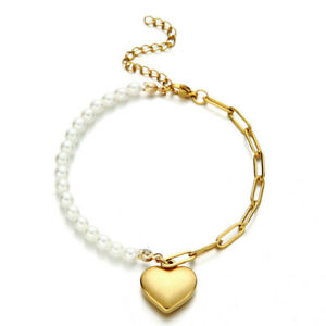 Gold Pearl Heart Bracelet Beaded Bangle Top Quality with Lobster Clasp New BB284