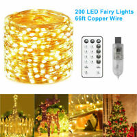 65.6FT 200LED Strip Christmas String Fairy Lights Waterproof Outdoor with Remote