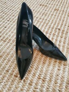"""BURBERRY PATENT LEATHER PUMPS SHOES 3"""" HEELS EU 39 pointy toe"""