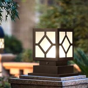 Minimal Black Metal Square Lantern Acrylic Outdoor Garden Pillar Light Gate Post