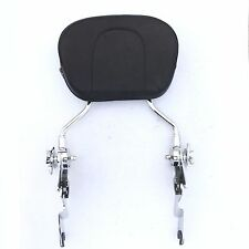 Chrome Adjustable Backrest Sissy Bar w/ pad For 97-17 Harley FLHR Road King