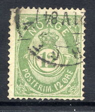 NORWAY 1883 Posthorn 12 Øre green,  fine used.