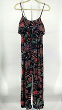 Willow Root Romper Jumpsuit Womens Size Small S Black Floral Tie Front Bodice