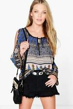 BOOHOO Una Paisley Print Woven Open Shoulder Top *NEW* Size 10