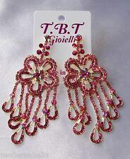 Flamenco orecchini lunghi oro Strass,zircone,cristalli,da Donna,rosa fiore