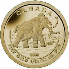 2014 $5 The Woolly Mammoth: Prehistoric Animals - 9999 Pure Gold Coin