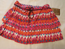 Route 66 Girls XL 14/16 Belted Ruffle Layered Lined Skirt NWT