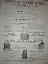 Chappell & Co's music sheets and piano organs old advert 1892