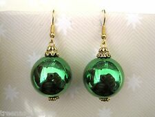 *GREEN XMAS BAUBLE* GOLD PLATED Earrings Gift New Stocking Filler Xmas Party