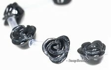 8MM NOIR BLACK ONYX GEMSTONE BLACK CARVED ROSE FLOWER 8MM LOOSE BEADS 20 BEADS