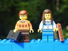 Lego Minifigure COLLEGE STUDENT COUPLE Pretty Female Long Hair Computer Book NEW