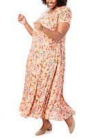 Woman Within Peach Floral Dress Sizes 12/14 16/18 20/22 24/26 28/30 32/34 SS New