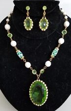 JULIANA NECKLACE & CLIP EARRINGS - GREEN FRAMED DISK W/ WHITE RHINETONES