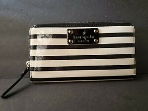 Kate Spade Black/White Striped Patent Leather Zip Around Continental Wallet