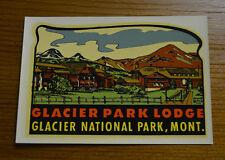 ORIGINAL VINTAGE TRAVEL DECAL GLACIER NATIONAL PARK MONTANA LODGE AUTO LUGGAGE