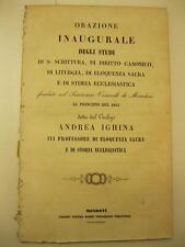 IGHINA Andrea, Orazione inaugurale, seminario di Mondovi'