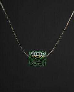 1Pcs Grade A Natural Green Jadeite Jade Pendant Circle Bead Necklace 花青路路通 #0194