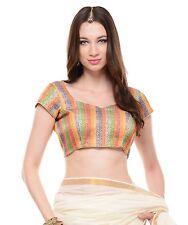 "Bohemian Top Blouse - Brocade Short Sleeve Multicolor Women Evening Choli 38"""