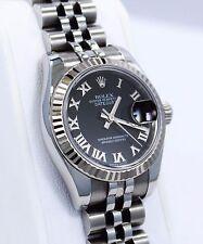 Rolex Datejust 179174 18K White Gold Bezel Jubilee Black Dial Ladies Watch *MINT