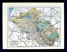 1899 Ireland Map - Fermanagh County - Enniskillen Belleek Lough Erne Ederny Kesh