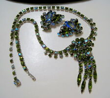 GORGEOUS GREEN Vintage SHERMAN Rhinestone TASSEL DROP NECKLACE with EARRINGS