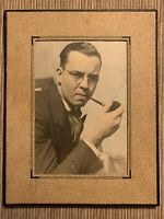 Vintage PHOTO Well Dressed Man SMOKING PIPE Close Up Portrait MCM Circa 1950s