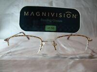 Magnivision Apex Brown Tort Half Frame Reading Glasses 1.25 1.50 1.75 2.25 2.75