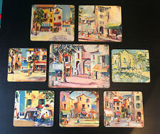 RARE MCM 50's 60's French Riveria Kitsch Cannes Placemats Table Mats Cork