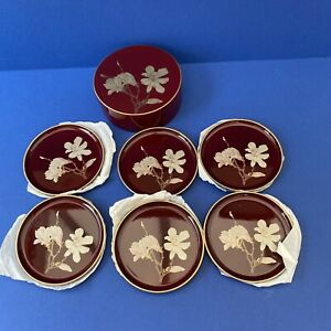 Vintage 1960's Set of 6 Italian Melarti Coasters Burgundy/Gold Coasters Boxed