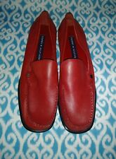 ab0bce2e4385e Vintage Tommy Hilfiger Women Sz 9.5 M Red Leather Penny Loafers Leather  Sole NEW