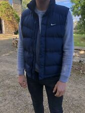 Mens Nike Navy Duck Down Puffer Gilet Body Warmer ( Size Small ) Zip Up