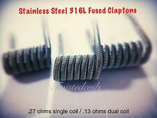 (6) Stainless Steel 316L Fused Clapton Coils (Rda Rba Alien) Organic Cotton