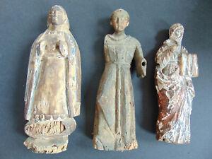 3 ANTIQUE 17th CENTURY SPANISH COLONIAL SANTOS RELIGIOUS CARVINGS PHILIPPINES