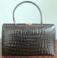 Vintage brown Crocodile/Kroko leder Handbag/Handtasche