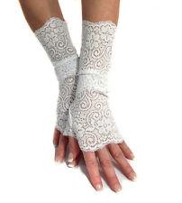 SEXY bianco pizzo elastico don Polsini Guanti senza dita mf4047 Scaldabraccia