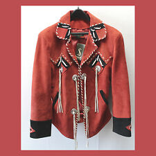 *NEW Western / Biker SUEDE Leather BONE Bead CONCHO Fringe & Lacing JACKET! M