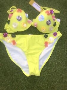 Boohoo 3D Floral Underwired Bikini Set Like Size 10 BNWT