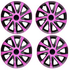 14 Inch Wheel Trim Set Gloss Black Set of 4 Univers Hub Caps Covers [DRCOPink]