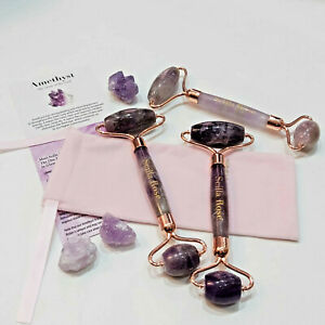 Jade Face Roller 100% Genuine AMETHYST QUARTZ Facial Roller  Pink Pouch UK STOCK